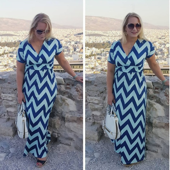 Chevron Maxi Dress - Plus size